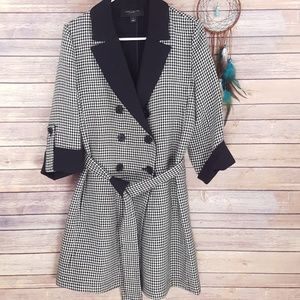 Ann Taylor Houndstooth Peacoat Jacket Belted Wool